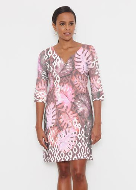 Before & Again | Classic 3/4 Sleeve Sweet Heart V-Neck Dress | Ikat Palms