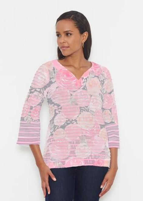 Before & Again | Banded 3/4 Bell Sleeve Tunic | Corsage Pink