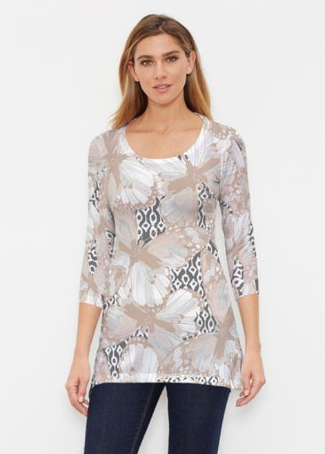 Before & Again | Buttersoft Tunic | Ikat Butterfly Beige