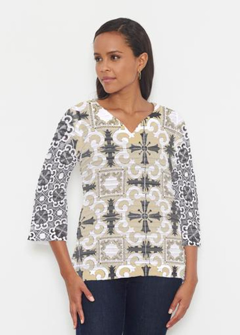 Whimsy Rose | Banded 3/4 Bell Sleeve Tunic |  Portuguese Gold