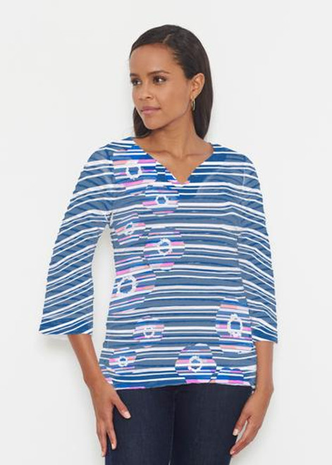 Whimsy Rose | Banded 3/4 Bell Sleeve Tunic |  Refracted Poppy Navy