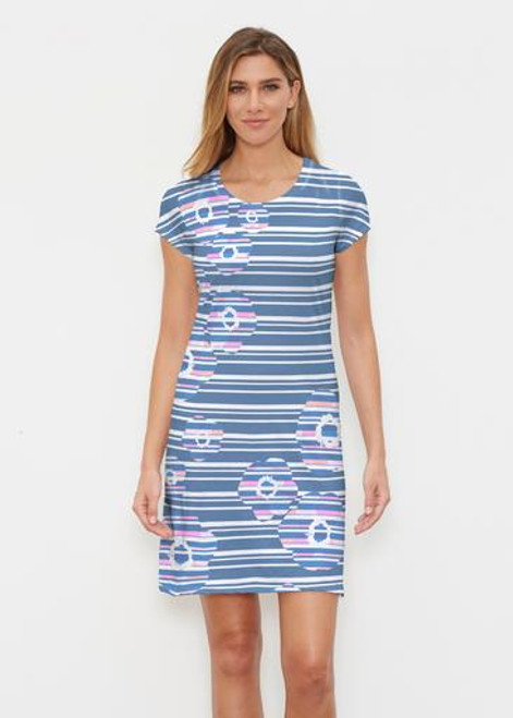 Whimsy Rose | Classic Crew Dress | Refracted Poppy Navy