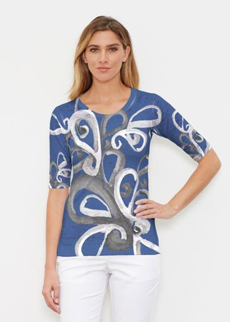 Whimsy Rose | Elbow Sleeve Crew | Watercolor Paisley