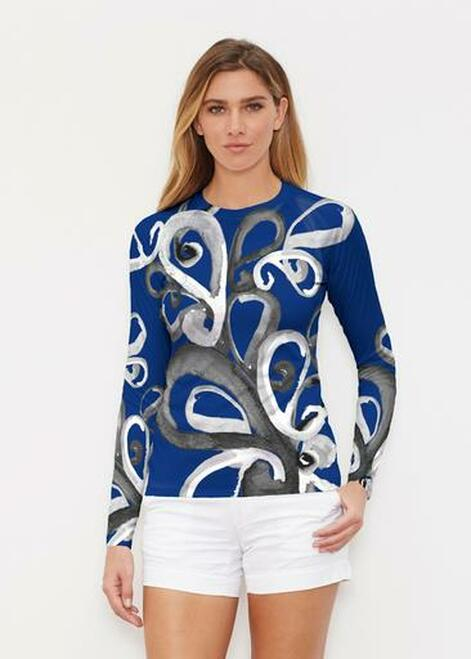 Whimsy Rose | Long Sleeve Active Top | Watercolor Paisley