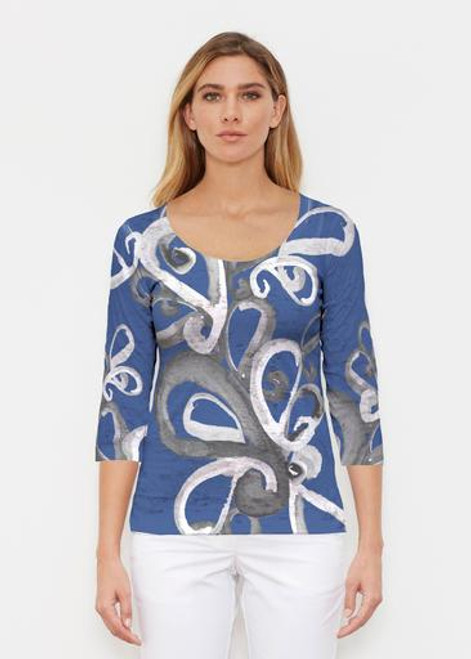 Whimsy Rose | 3/4 Sleeve Scoop Neck | Watercolor Paisley