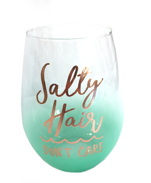 Salty Hair Don't Care | Stemless Wine Glass | 20 oz