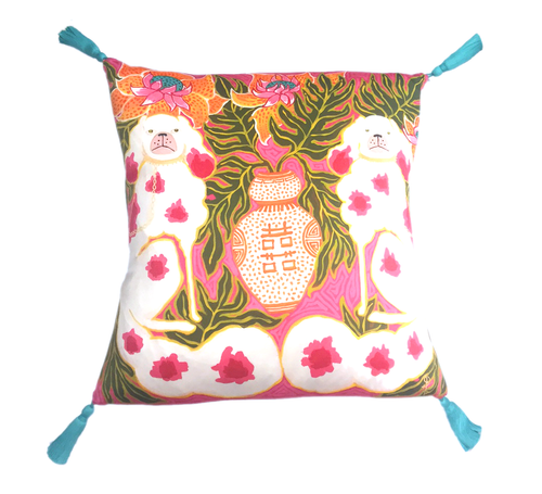 Silk Painted Square Pillow | Staffordshire Dogs in Hot Pink and Orange