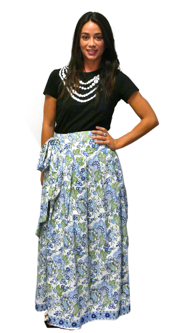 One of a Kind Long Party Skirt | Floral Multi Blues