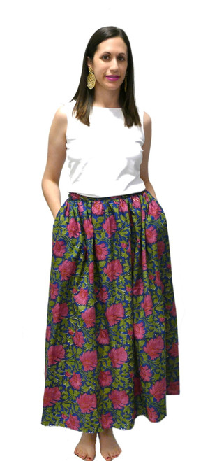 One of a Kind Long Party Skirt | Navy Floral