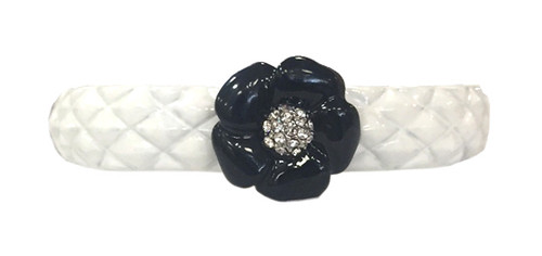 Small Quilted Enamel Camelia Bracelet | White with Black
