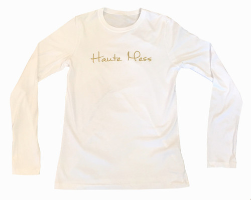Haute Mess Fitted Long Sleeve Tee |  White and Metallic Gold