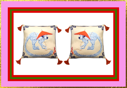 Silk Painted Square Pillow | Monkey Looking Right | Holiday Gift Guide ♥
