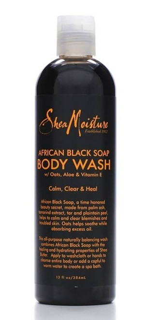 Shea Moisture Body Wash, African Black Soap - 13 fl oz bottle