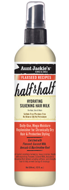 Aunt Jackie's Curls & Coils Half & Half Hydrating Silkening Hair Milk with Flaxseed Oil 12oz