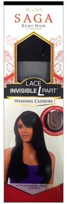 """Saga Remy Human Hair Lace Invisible L Part Weaving Closure- 12"""""""