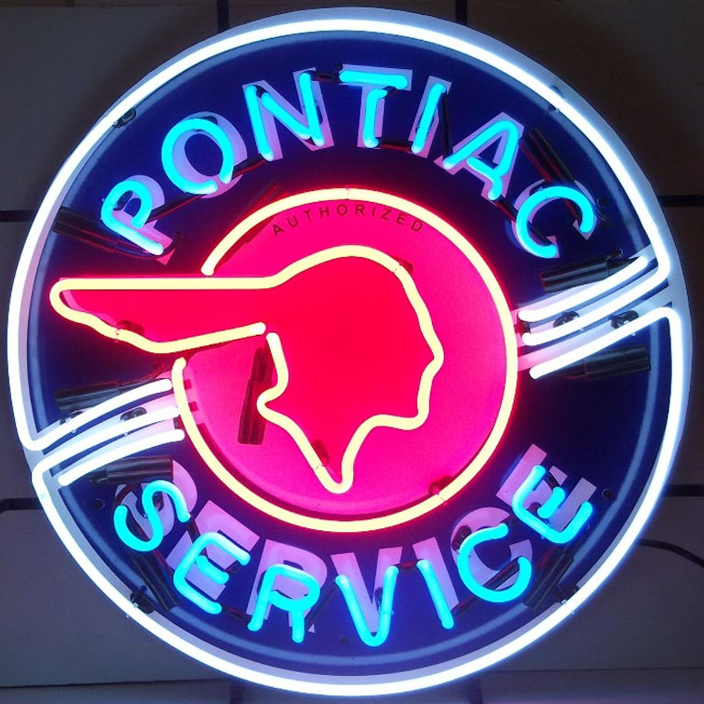 Neonetics Pontiac Service Neon Sign with Silkscreen Backing