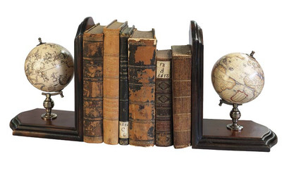 Globe Bookends with French Finish