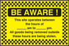 Be Aware site security sign