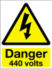 Danger 440 volts adhesive sign
