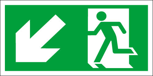 Fire exit sign, Running Man Down/Left