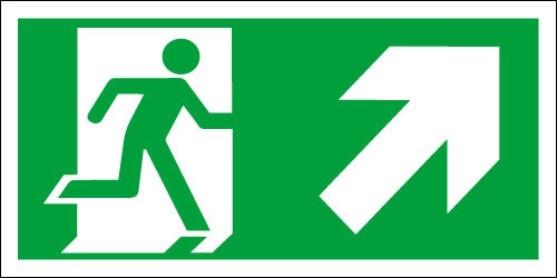 Fire exit sign, Running Man Up/Right