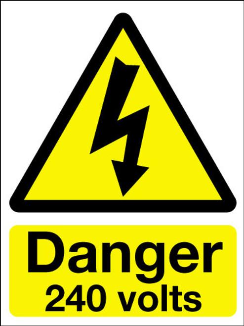 Danger 240 volts adhesive sign