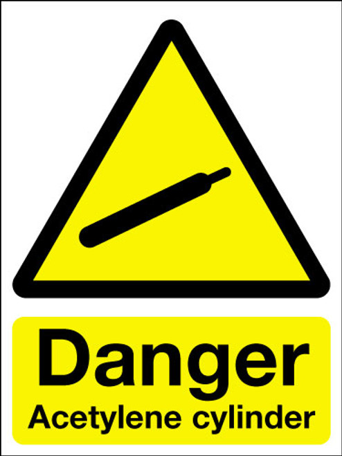 Danger acetylene cylinder sign