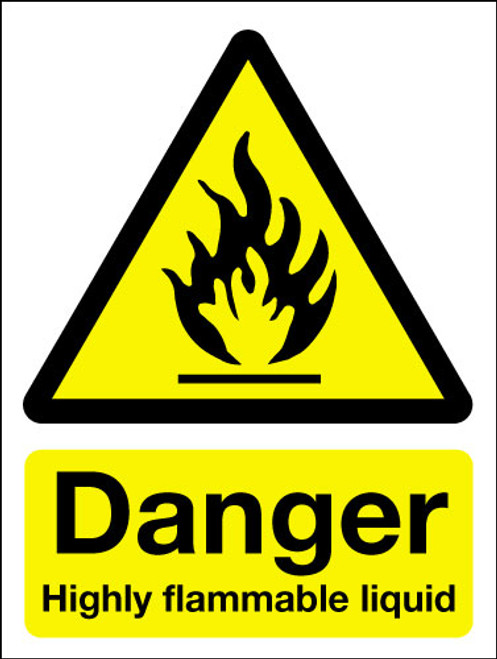 Danger highly flammable liquid sign
