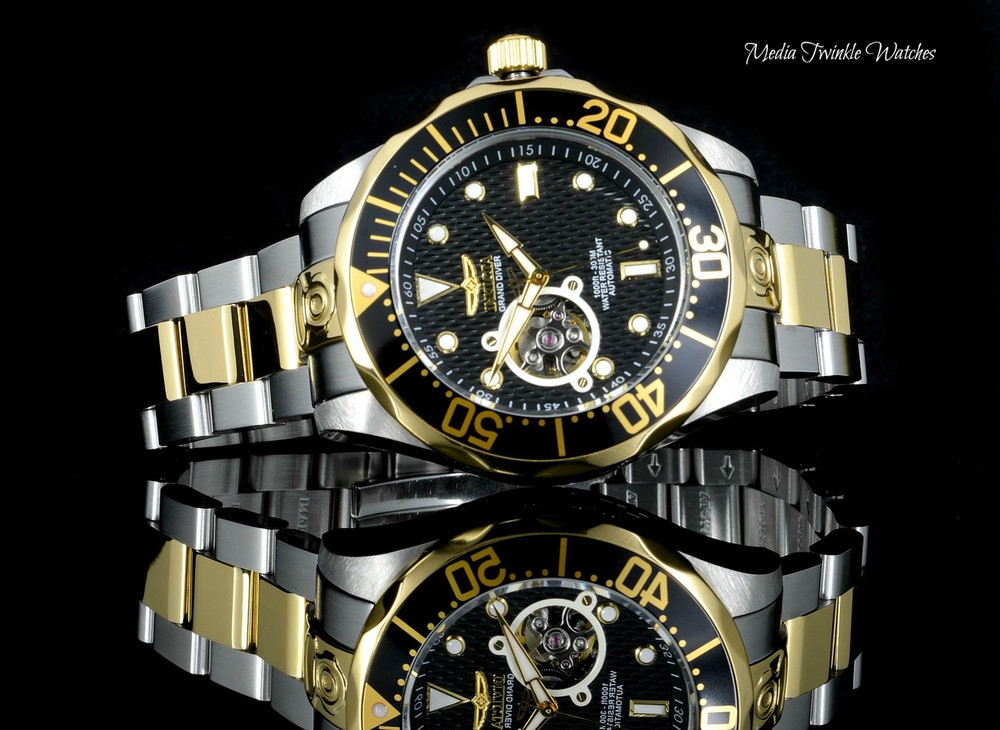 """Invicta 13705 Grand Diver Automatic Black Dial Two Tone """"Open Heart"""" Stainless Steel Bracelet Watch 