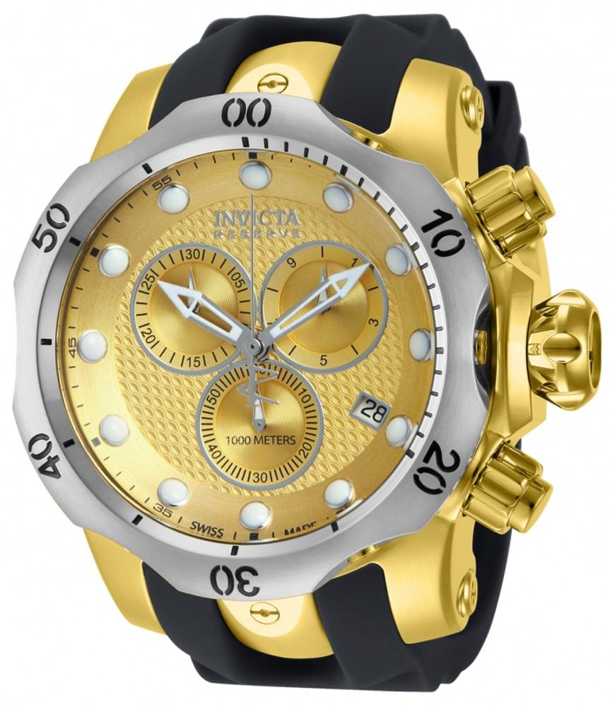 Invicta 16151 Reserve 52mm Venom Swiss Chronograph Gold Tone w/Silver Bezel Polyurethane Strap Watch | Free Shipping