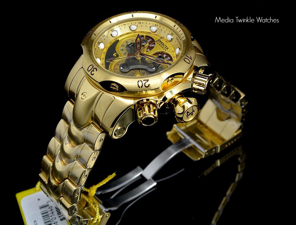 Invicta 14462 Reserve 52mm Venom Swiss Quartz Chronograph 5040F Gold Tone Black Dial Watch | Free Shipping