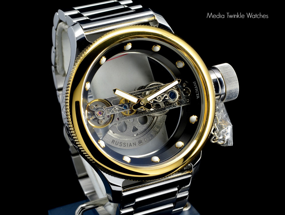 Invicta 14213S Russian Diver Bridge Automatic Gold Tone Solid Stainless Steel Bracelet + Black Leather Strap Watch | Free Shipping