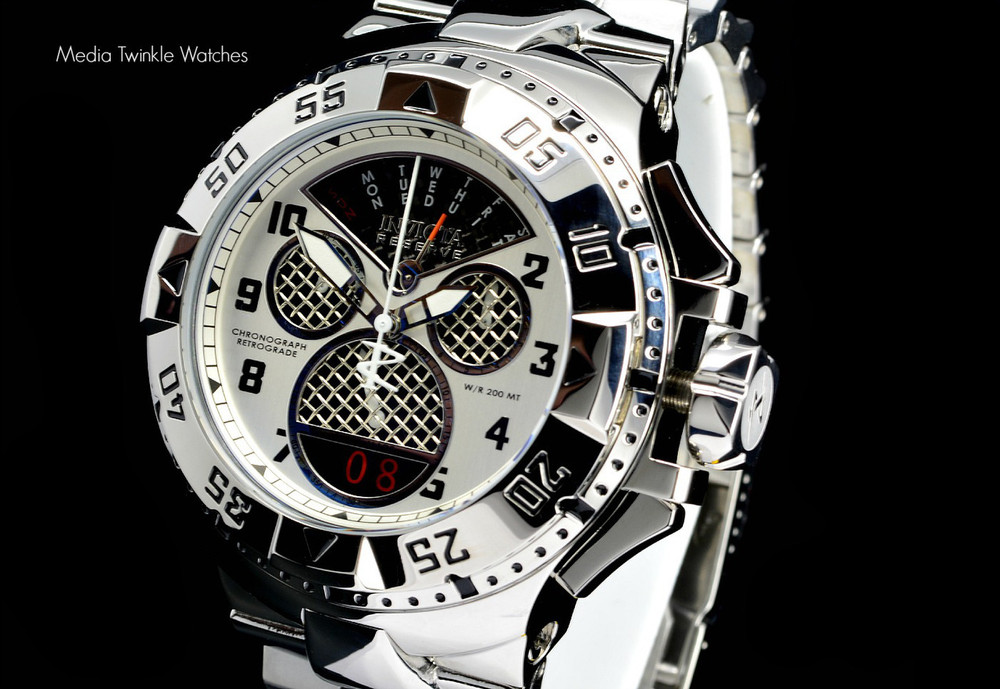 """Invicta 17468 Reserve Mens Excursion Swiss Quartz 8040.N """"Twisted Metal"""" Silver Bracelet Watch 