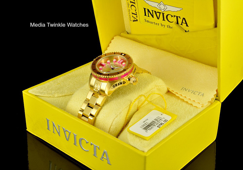 Invicta 19821 women's 38mm Grand Diver Gen II Quartz Gold Tone & Pink Bracelet Watch