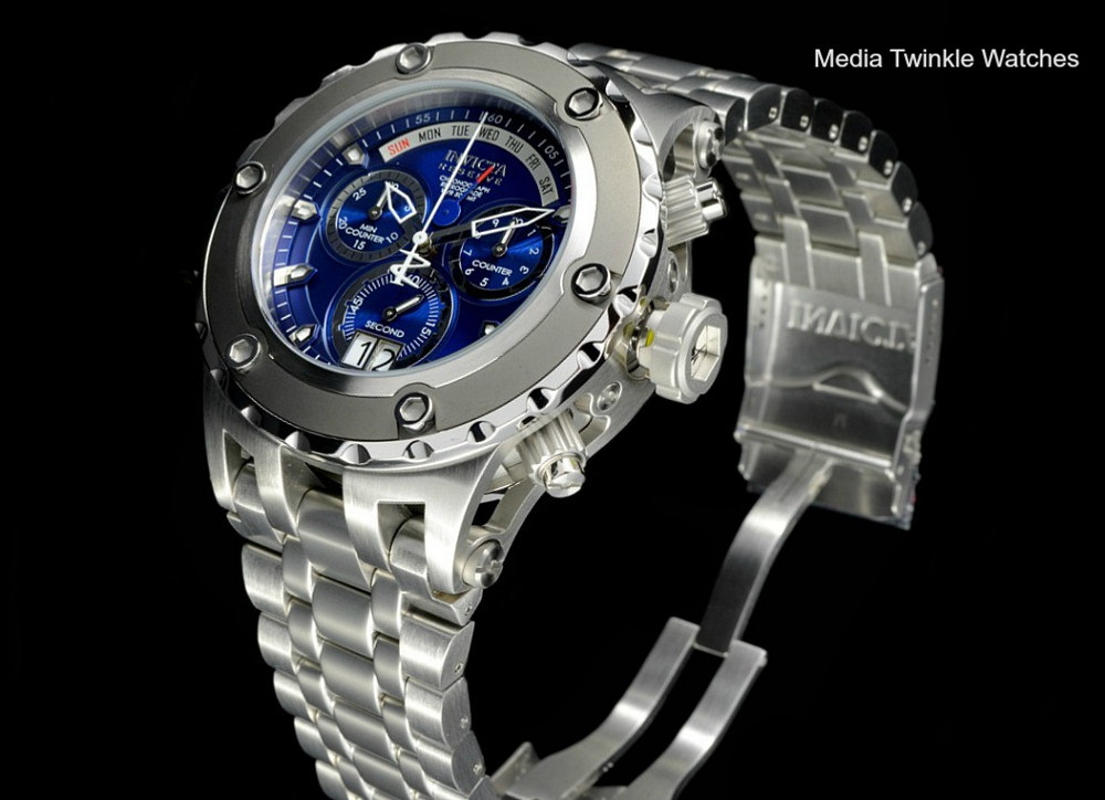 Invicta 90117 Reserve 52mm Specialty Subaqua Blue Dial Gray Bezel All Silver Bracelet Watch