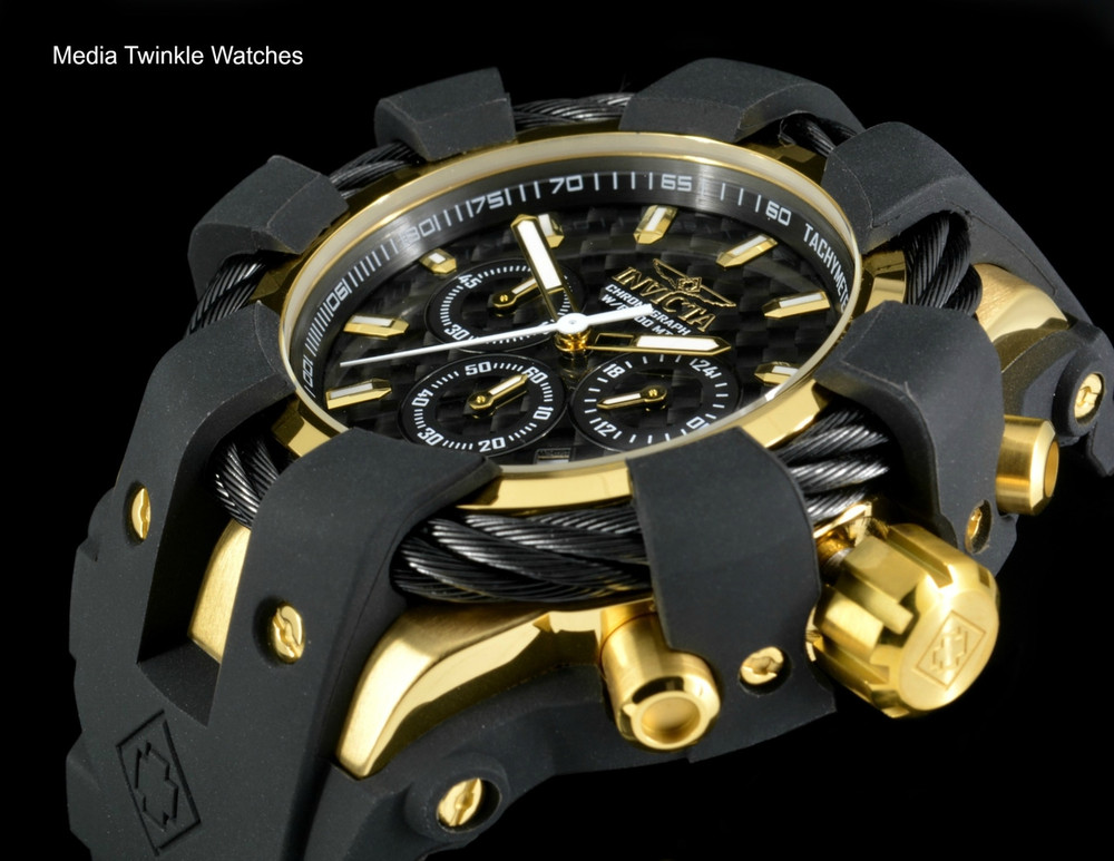 Invicta 50mm Bolt Sport Black Carbon Dial Gold Tone Bezel Silicone Strap Watch 23861