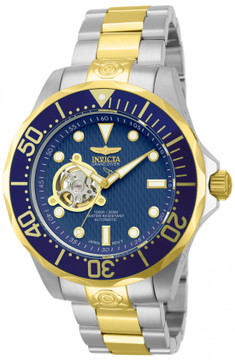 """Invicta 13706 Grand Diver Automatic Blue Dial Gold Plated Case """"Open Heart"""" Stainless Steel Bracelet Watch 