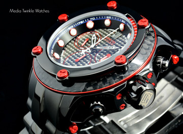 Invicta 17831 Reserve 52mm Jason Taylor Limited Edition Z60 Swiss Made Elevated Bezel Black & Red Bracelet Watch w/ 3 Slot Case | Free Shipping