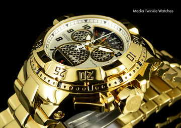 """Invicta 17470 Reserve Mens Excursion Gold Tone Black Dial Swiss Quartz 8040.N """"Twisted Metal"""" Silver Bracelet Watch 