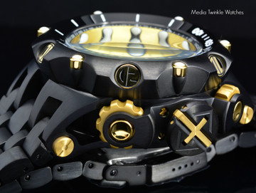 Invicta 20420 Reserve 52MM VENOM Hybrid Black & Gold Tone 5040F Swiss Quartz Chronograph Bracelet Watch | Free Shipping