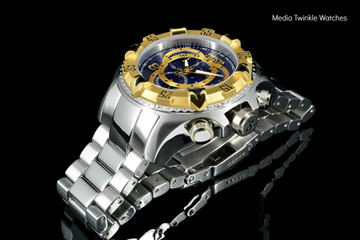 Invicta 11004 Reserve Men's Excursion Blue Dial Gold Tone Bezel Swiss Quartz Chronograph Bracelet Watch | Free Shipping
