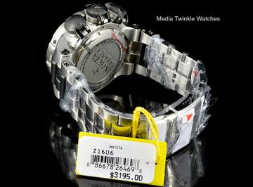 Invicta 21606 Subaqua 52mm Sea Dragon Swiss Quartz Chronograph Black Dial All Stainless Steel Bracelet Watch