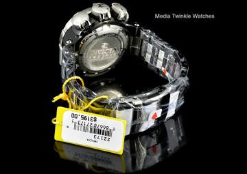 Invicta 22173 Subaqua 52mm Sea Dragon Swiss Quartz Chronograph Black Dial Black Case Two Tone Bracelet Watch