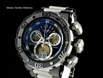 Invicta 22173 Subaqua 52mm Sea Dragon Swiss Quartz Chronograph Black Dial Black Case Two Tone Bracelet Watch