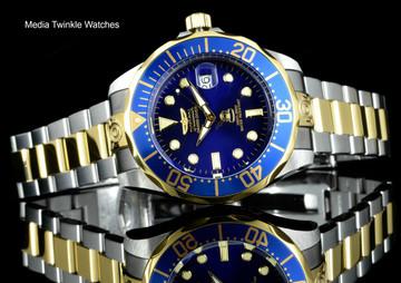 Invicta 3049 Grand Diver 47mm AUTOMATIC Blue Dial Gold Tone Silver Bracelet Watch