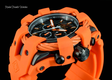 Invicta 50mm Bolt Sport Black Carbon Dial Orange Silicone Strap Watch 23872