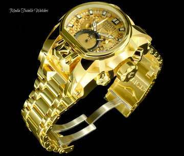 Invicta 52mm Reserve Bolt Zeus MAGNUM Swiss Quartz Gold Tone Dual Movement Bracelet Watch 25210