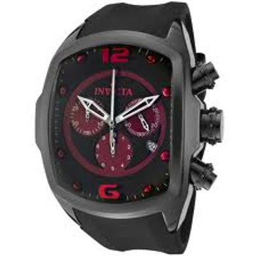 Invicta 0313 Men's Lupah Revolution Ceramic Swiss Chronograph Red Dial Black Polyurethane Strap Watch   Free Shipping