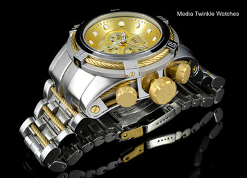 Invicta 0822 Reserve Bolt Zeus Swiss Quartz Chronograph Gold Tone Dial Bracelet Watch | Free Shipping