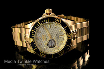 """Invicta 13710 Grand Diver Automatic All Gold Plated """"Open Heart"""" Stainless Steel Bracelet Watch   Free Shipping"""